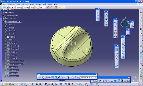 catia v5 – gsd – rotate – extrude – extrapolate – filet