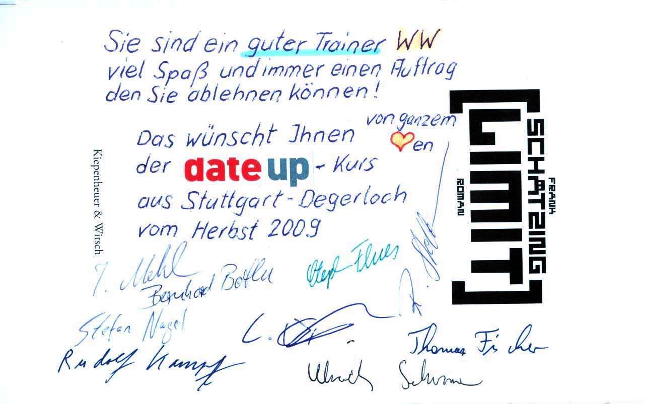 Widmung der Teilnehmer einer CATIA V5 Schulung bei der Fa. Date Up in Stuttgart