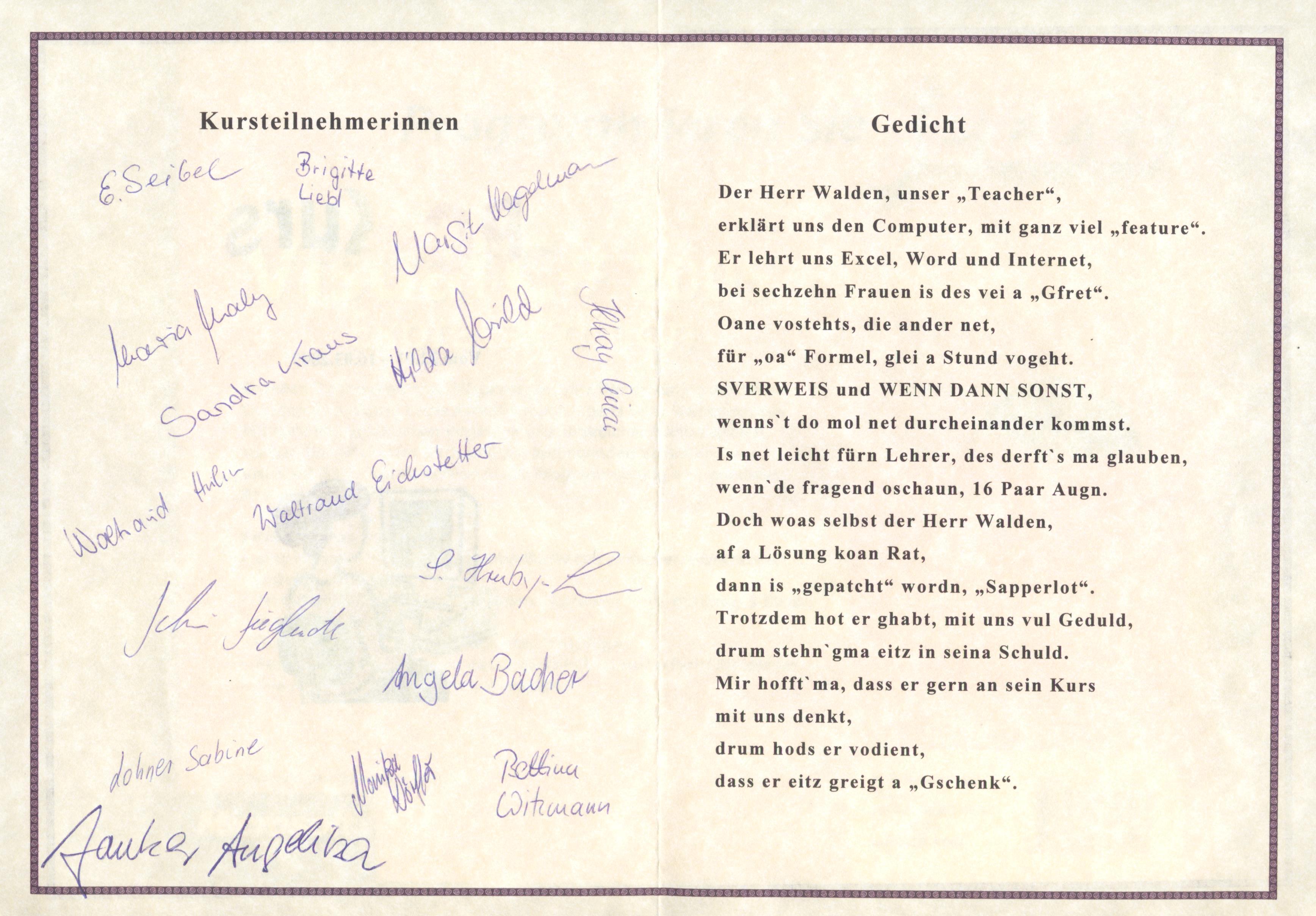 Ein Gedicht der Teilnehmer einer MS-Officeschulung bei der Fa. Advanced CAD in Regensburg