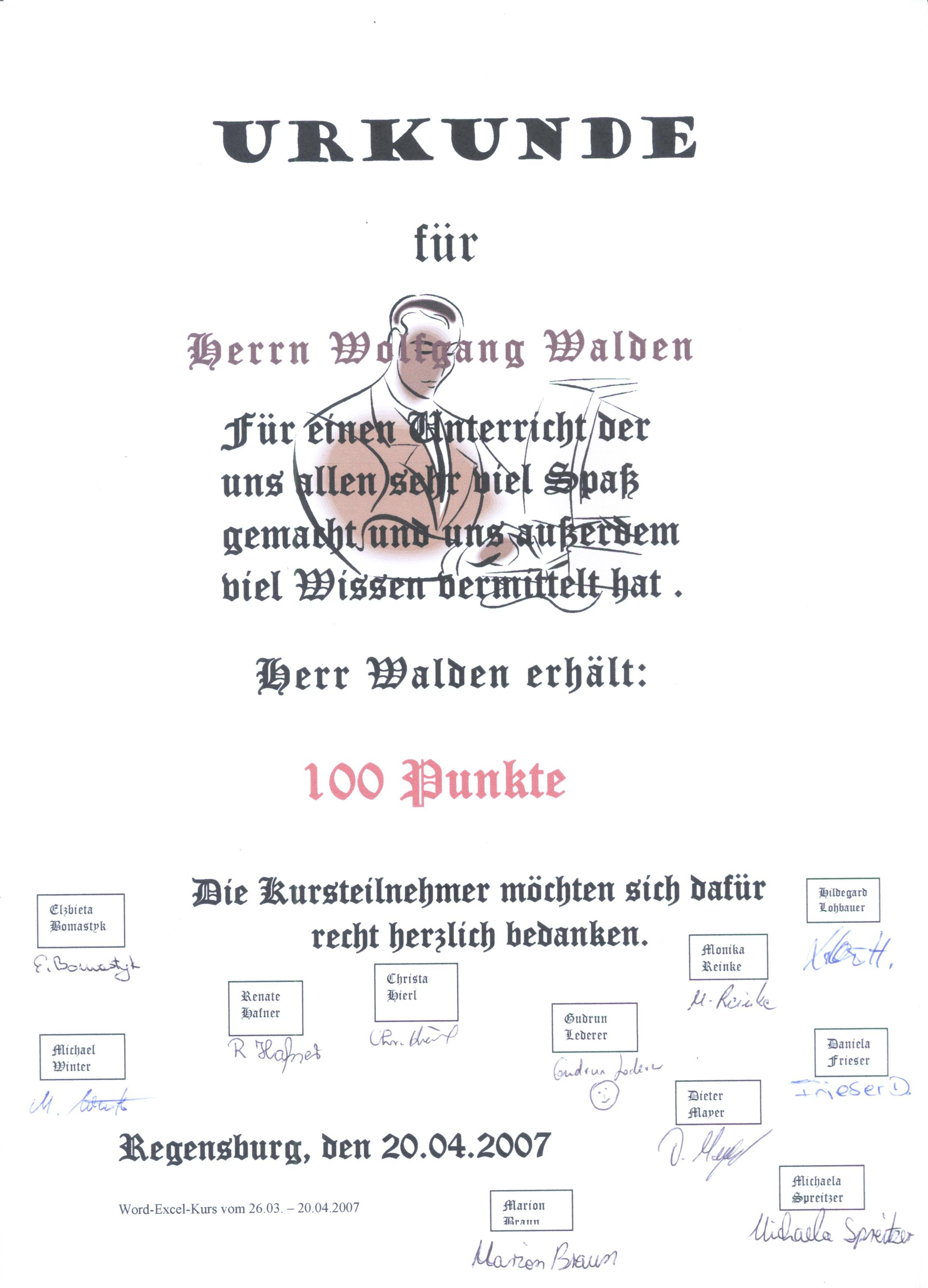 Eine Urkunde der Teilnehmer einer MS-Officeschulung bei der Fa. Advanced CAD in Regensburg Trainer