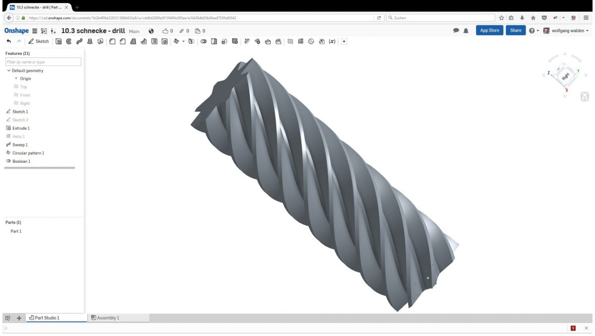 Onshape Video Tutorial 10 3 Schnecke Drill Sweep