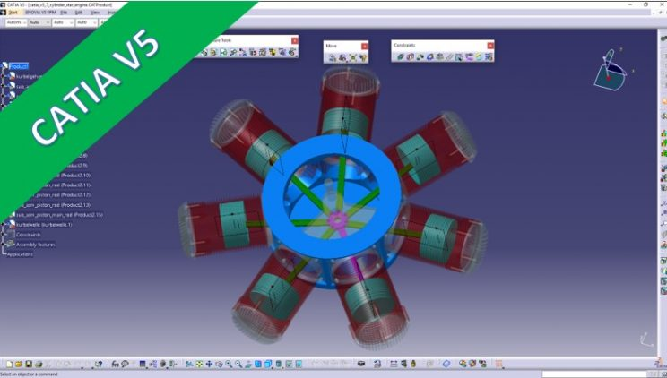 Videotutorial – catia v5 – embly – 7 Cylinder Radial ... on